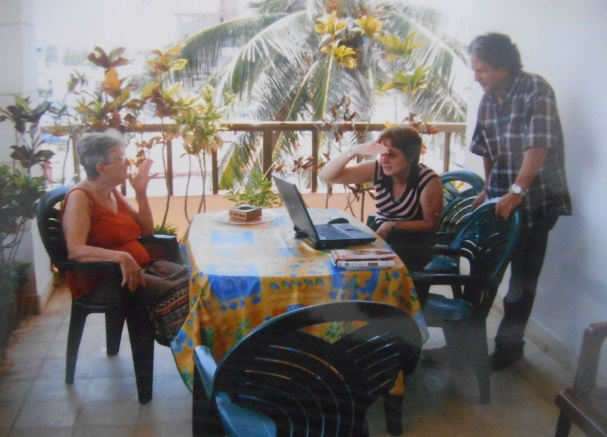 Guests, working in the terrace. Casa José Marta, Miramar, Havana, Cuba